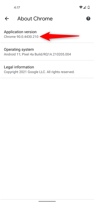 Check Chrome version on Android from the browser's settings
