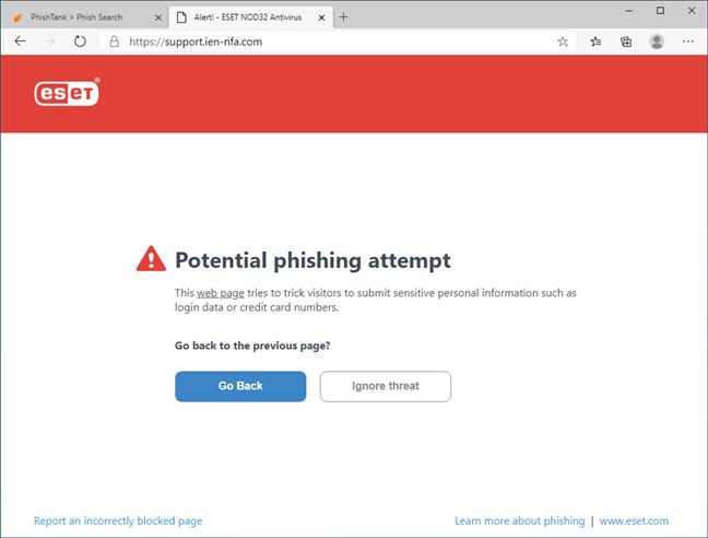 ESET NOD32 Antivirus blocking a phishing website