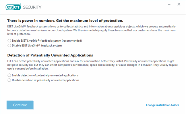 Enabling ESET LiveGrid and the detection of potentially unwanted programs