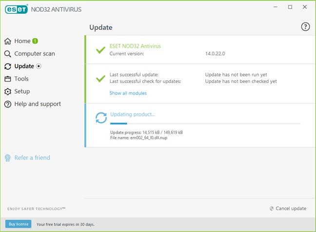ESET NOD32 Antivirus updates its malware database