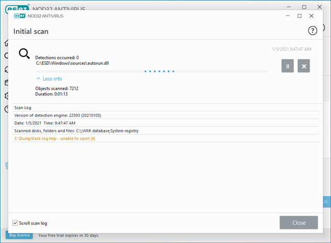 Initial antivirus system scan run by ESET NOD32 Antivirus
