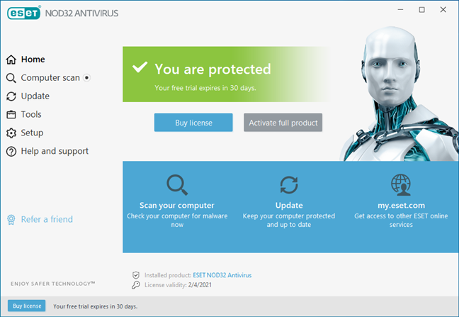 The homepage of the user interface of ESET NOD32 Antivirus