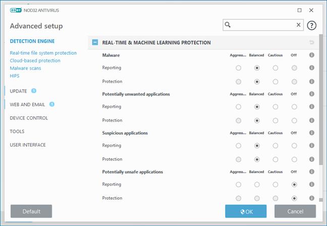 The Advanced setup settings from ESET NOD32 Antivirus