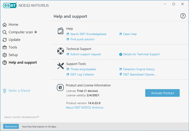 The Help and support options offered by ESET NOD32 Antivirus