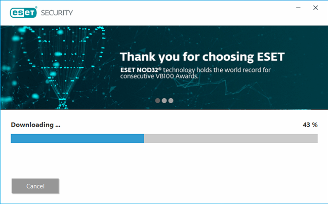 The wizard downloads the files necessary to install ESET NOD32 Antivirus