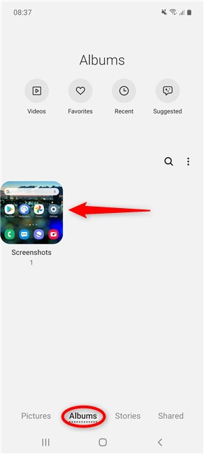 Where do screenshots go on Android for Samsung Galaxy devices?