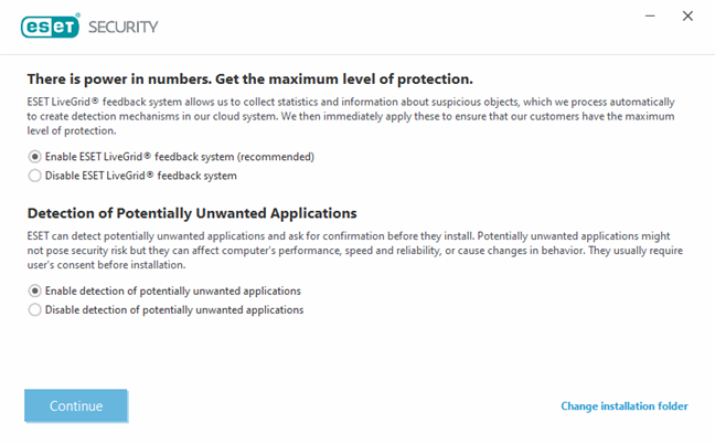 Enable ESET LiveGrid and the detection of PUPs