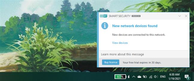 Notification displayed by ESET Smart Security Premium