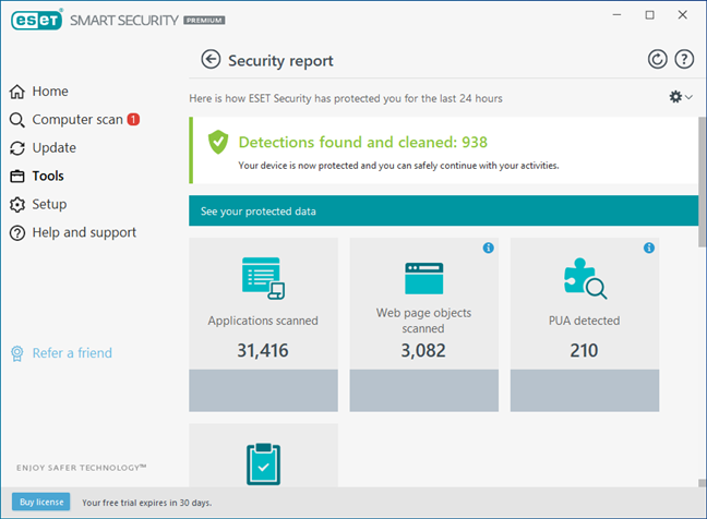 Security reports and logs available in ESET Smart Security Premium
