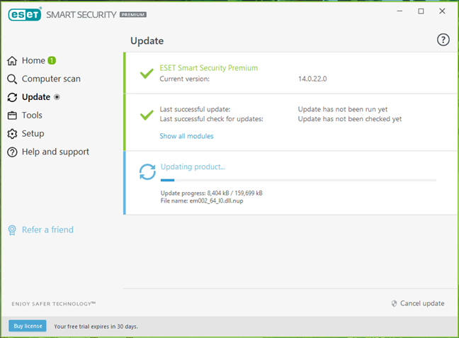 ESET Smart Security Premium updates its malware database