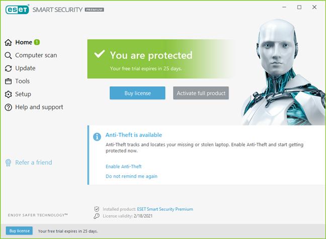 The ESET Smart Security Premium user interface