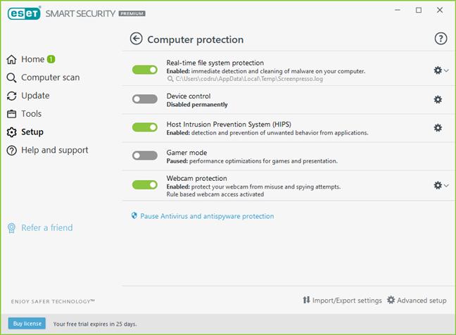 ESET Smart Security Premium setup options