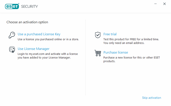 The ESET activation options