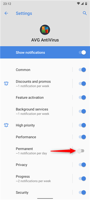 Disable the switch to stop the permanent notification from appearing on Android