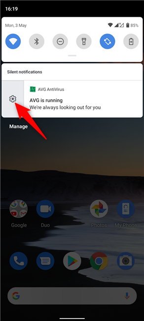 Swipe the notification and press on the subsequent gear icon