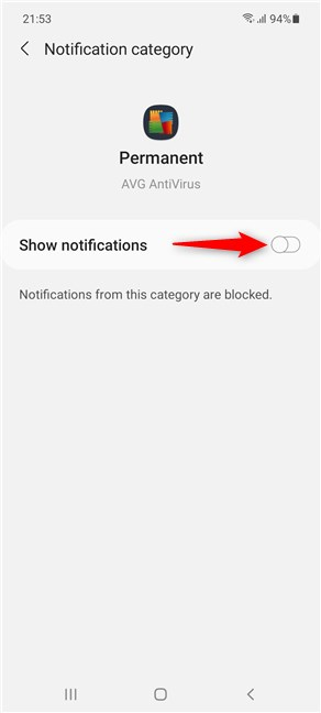 Turn off the master switch to get rid of a permanent notification on Samsung Galaxy