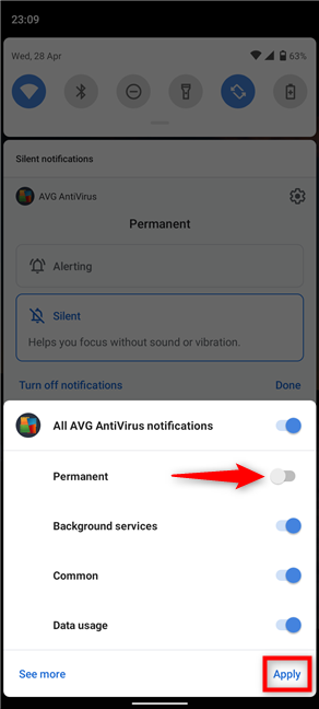 How to get rid of the permanent AVG notification on Android