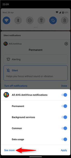 Tap on See more to access an app's notification settings
