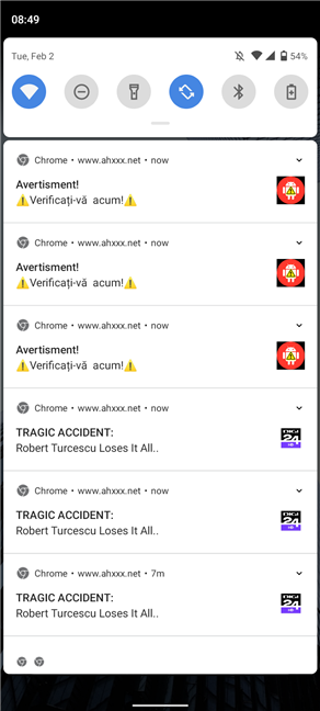This is what Google Chrome notifications spam looks like