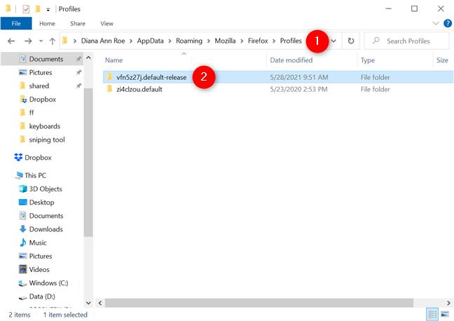 The location of Firefox's user profile folders
