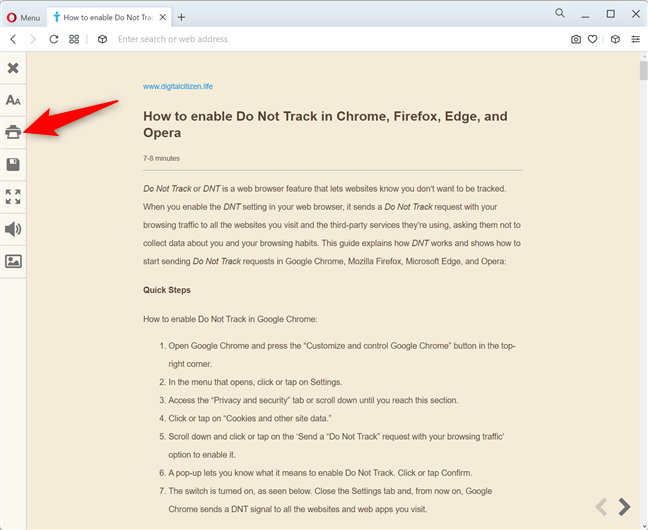 How to print an article without ads in Opera