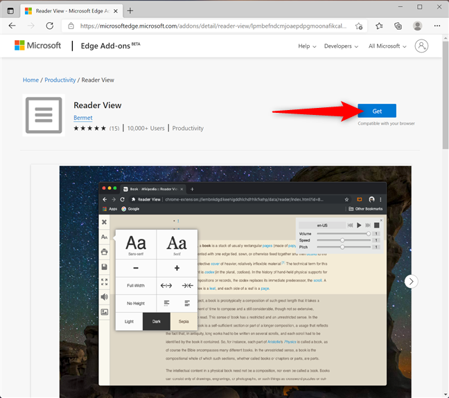 Get the Reader View add-on to print without ads