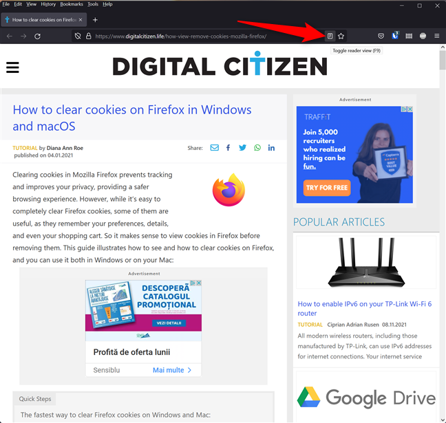 Toggle reader view in Mozilla Firefox