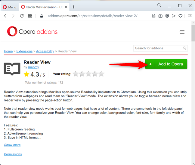 Install Reader View for Opera
