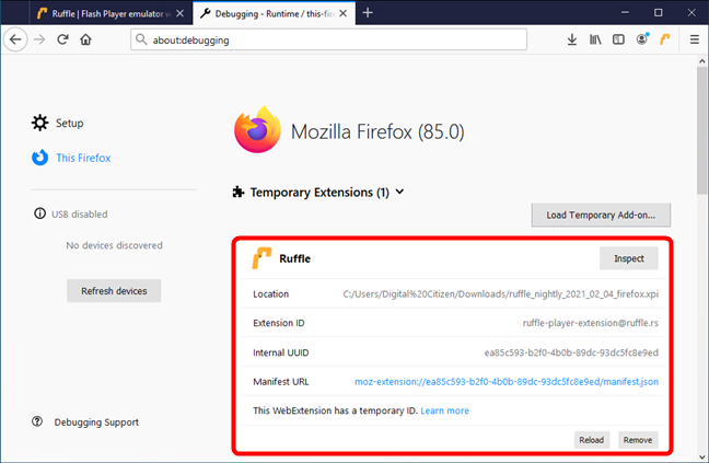 Ruffle has been installed in Firefox