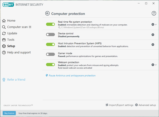 ESET Internet Security setup options