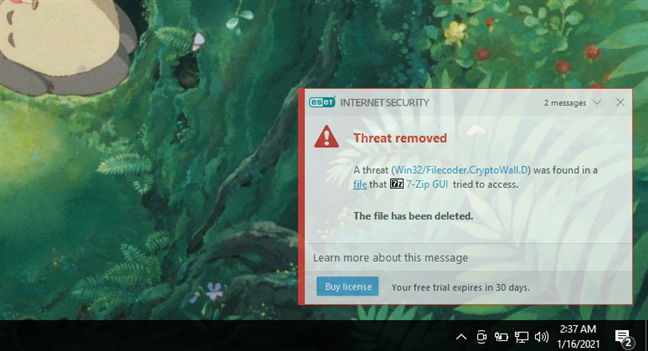 Notification displayed by ESET Internet Security