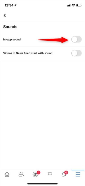 Turn off Facebook sounds on iPhone or iPad
