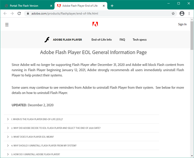 Adobe Flash Player EOL General Information Page