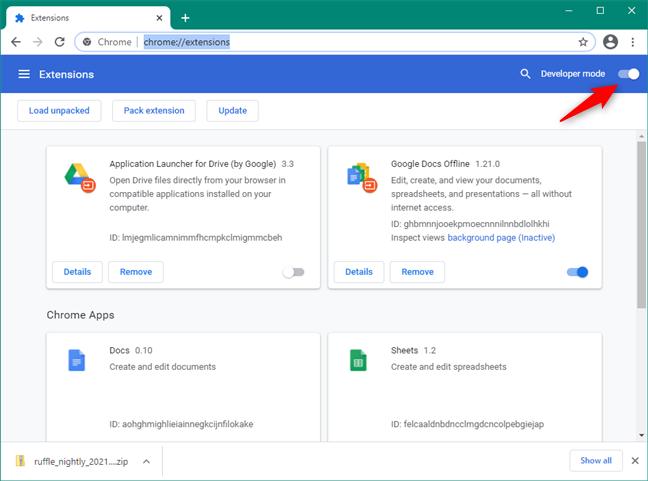 Turning on the Developer mode in Google Chrome