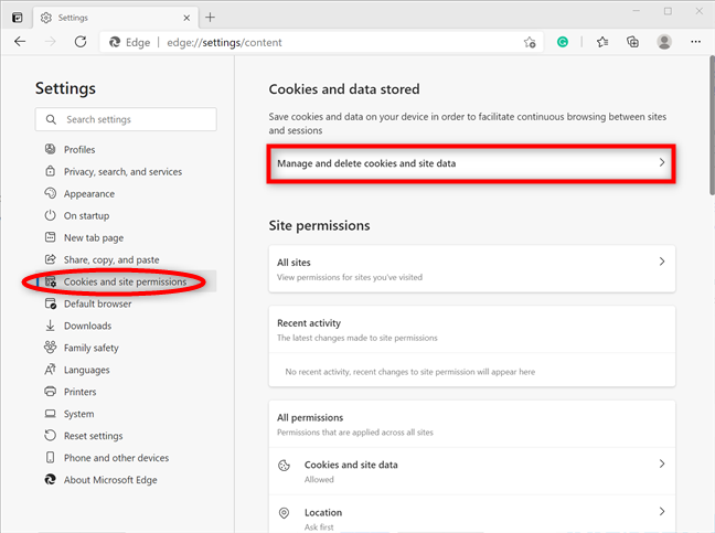 Press Manage and delete cookies and site data