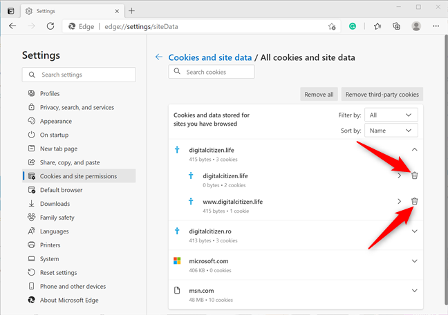 How to clear cookies in Edge for a specific site