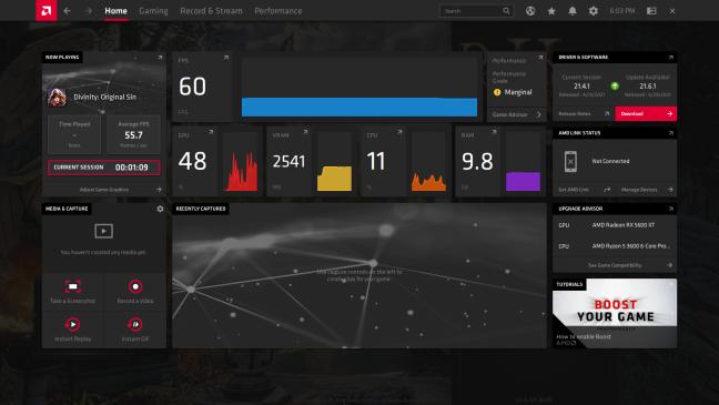 The Radeon Software dashboard