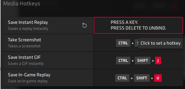 Click on a keyboard shortcut and press Delete