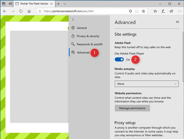 Use Adobe Flash Player in Microsoft Edge