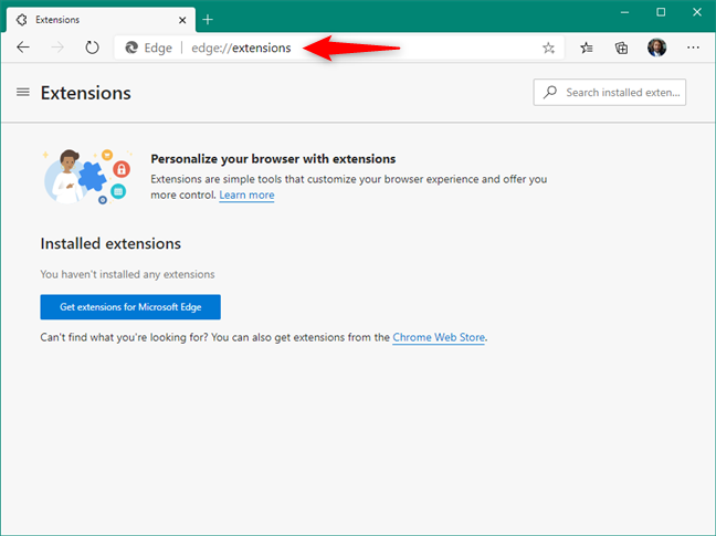 The edge://extensions page