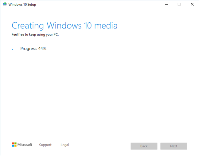 The Windows 10 setup ISO file is created