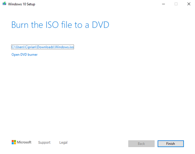 The ISO file was created