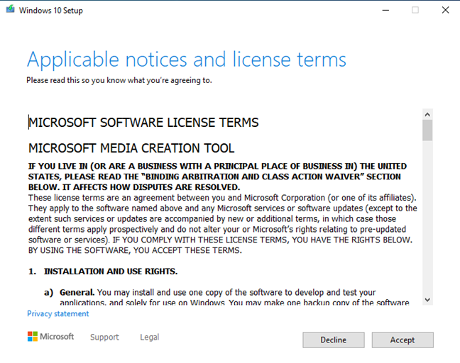 Accept the license terms for the Windows 10 Media Creation Tool