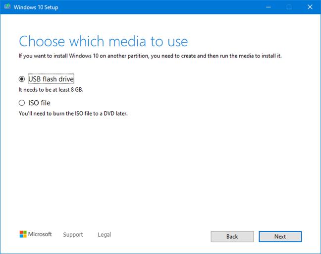 Choose to create a bootable USB flash drive with the Windows 10 setup