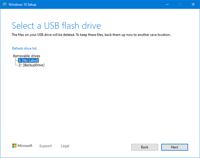 Select the flash drive or external hard drive for the Windows 10 setup files