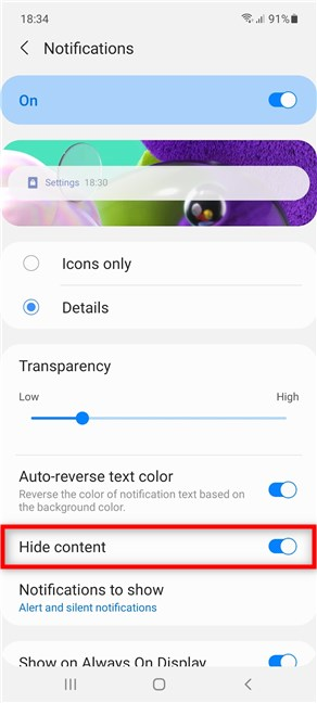 How to hide the content of messages in the Notification bar on Samsung