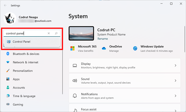 Open Control Panel in Windows 11 using the search from Settings