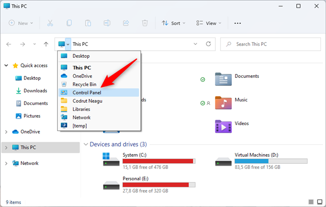 Starting the Control Panel from File Explorer