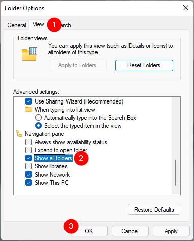 The Show all folders option from File Explorer's Folder Options