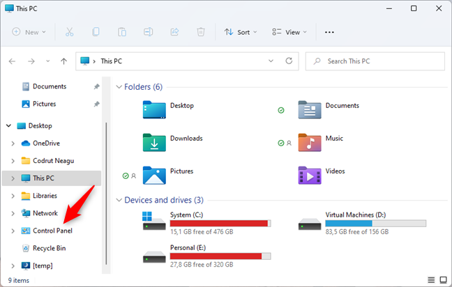 Control Panel is found in File Explorer's navigation pane